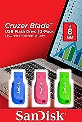 SanDisk Cruzer Blade 8 GB USB Flash Drive (Pack of 3)