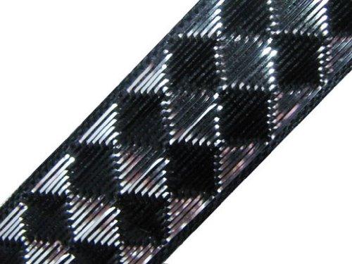 4.5 Yd Metallic Black Silver Jacquard Woven Ribbon Trim