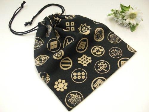 手作り 和柄 巾着袋 黒×家紋柄  和小物 和雑貨 和風小物