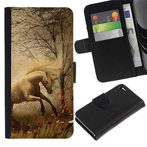GIFT CHOICE / SmartPhone Cell Phone Leather Wallet Case Protective Cover for Apple Iphone 4 / 4S // Horse Mane Grass Fog Mist Stallion Mustang // (Mane Clip compare prices)