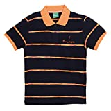 Plums Navy Stripes Polo T-shirt For Boys