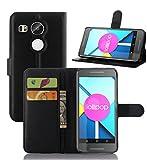 【全7色】【ShineZone】Google LG Nexus 5X ケース  超薄型スリムケース 高品質 スタンド機能付き 手帳型レザーケース (ブラック)
