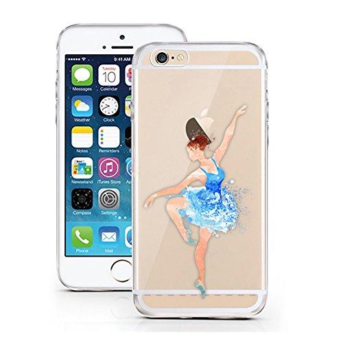 """'licaso® iPhone 66S 4,7TPU cellulare Sketch Case trasparente chiara per cellulare cellulare iPhone6Custodia Girl cover iPhone 6 6S 4,7"""" Ballerina blau"""
