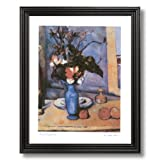 Paul Cezanne French Victorian Blue Flower Contemporary Home Decor Wall Picture Black Framed Art Print