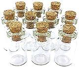 eCrafty EC-4972 10-Pack Mini Glass Bottles Cork Tops Message Weddings Wish Jewelry Party Favors, 1-Inch