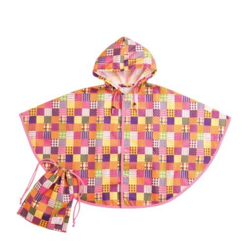 (スタンプル) Stample パッチワーク柄レインポンチョ・巾着付き[ベビー・キッズ] 60901 ピンク S レインウエア レインコート 合羽 カッパ 雨具 子供 子供用 男の子 女の子