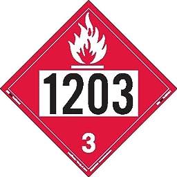 Labelmaster ZEZ21203 UN 1203 Flammable Liquid Placard, E-Z Removable Vinyl (Pack of 25)