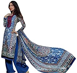 Indiankala4U Women Embroidered Lawn Cotton Dress Material