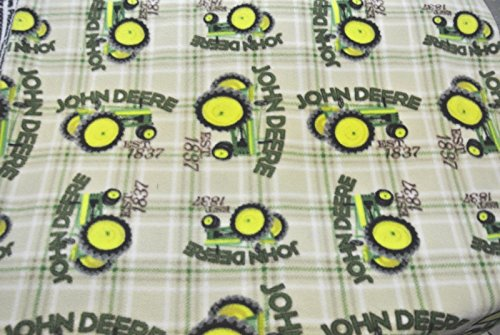 John Deere Tractor Tractor Tan Plaid Baby Blanket Can Personalize 28x44