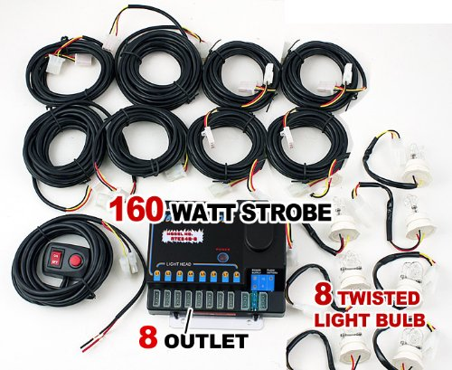 New BOVATECH Advanced 160W (8 x 20W) Hideaway Strobe Lights Kit Complete Set