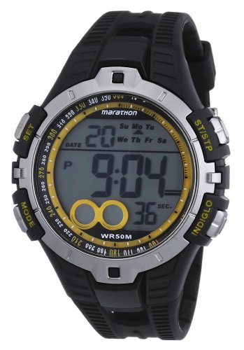 Timex Sport Marathon Fullsize Quartz Watch with LCD Dial Digital Display and Black Resin Strap T5K4214E