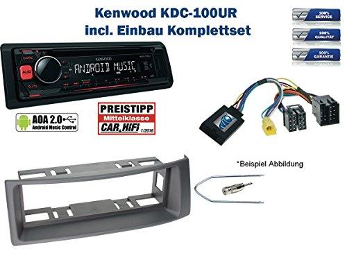 Renault-Megane-Scenic-Autoradio-Einbauset-Grau-inkl-Kenwood-KDC-100UR-und-Lenkrad-Fernbedienung-Adapter