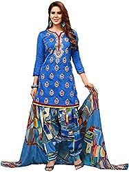 Begum Riwaaz Women's Georgette Unstitched Dress Material (18006A, Blue)