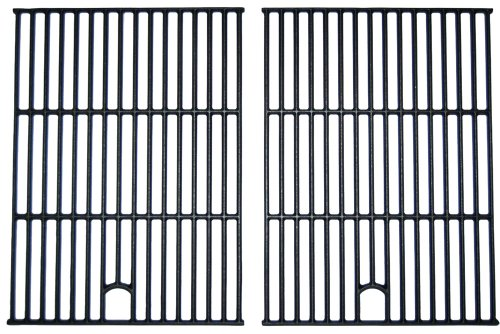 Music City Metals 67692 Matte Cast Iron Cooking Grid Replacement for Select Gas Grill Models by North American Outdoors, Perfect Flame and Others, Set of 2