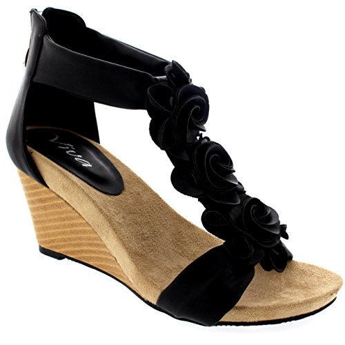 Womens Zipper Wedge Pumps Open Toe Summer Casual Ankle Strap Sandals - Black - 10 - 41 - CD0223E