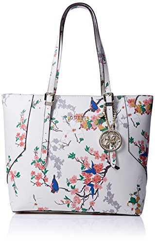 Guess Isabeau Carryall Borsa a Mano, Donna, Avorio (Ivory Multi)