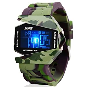 Military Cool LED Display Colorful Light Digital Sport Waterproof Stealth Fighter Plane Shaped Wrist Watches with Silicone Strap Land