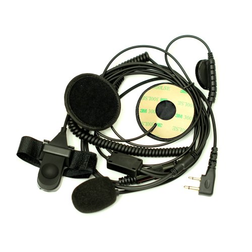 F Type Open/Half Face Motorcycle Bike Helmet Earpiece Headset Mic Microphone For 2-Pin Icom Maxon Yaesu Vertex Radio