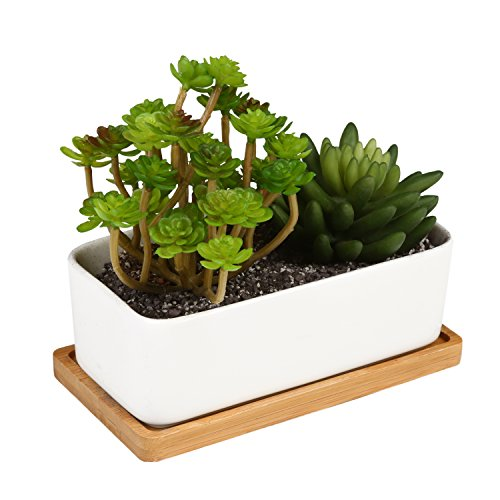 MyGift Ceramic Plant Container with Bamboo Saucer / Succulent Planter Pot, White