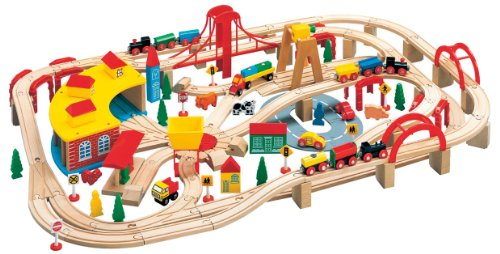 Leomark Wooden Train Set City - 140 Pieces