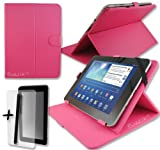 Rose Pink PU Leather Case Cover Stand for Yarvik TAB364EUK GoTab Gravity 8'' 8 Inch Android Tablet Pc + Screen Protector + Stylus Pen