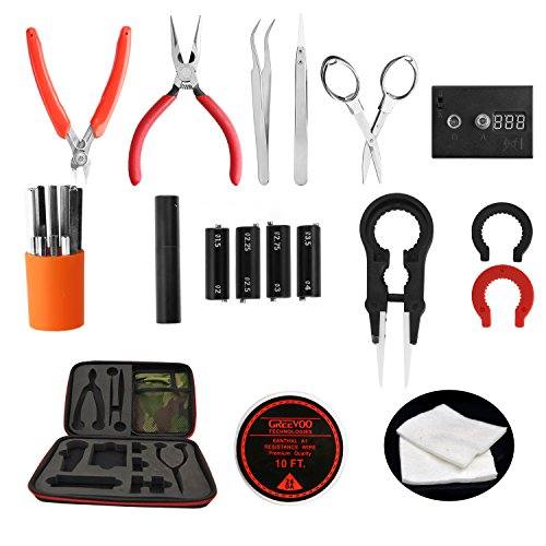 Updated Vape Tool Kit 8-in-1 Coil Jig Kit with Ceramic Vape Tweezers+Coil Jig kit+Diagonal Pliers+Needle-Nose Pliers+Scissors+Scimitar Stainless Tweezers+Ohm Meter+10FT Heating Wire+Organic Cotton (Rda Building compare prices)