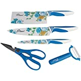 Cookstyle 5Pc Multipurpose Kitchen Chef Knife Set With Colorful Floral Prints (Blue)