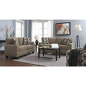 Serta 2 Piece Santa Cruz Sofa Set In Platinum Fabric Living Ro