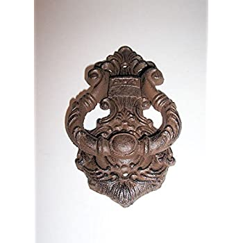 """ABC Products"" - Heavy Cast Iron - Hammer Door Knocker - With Very Complex Patterns - Scroll Knocking Ring - ( Rustic Bronze Color Finish - Goes Good For Homes, Log Cabins, Bungalow and More)"