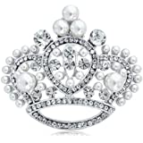 Bling Jewelry White Pearl Rhodium Crystal Princess Crown Queen For A Day Pin Brooch