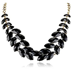 Black Cabochon Fern Statement Necklace, 19.125