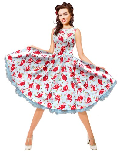 1950′s 60′s Blue teapots Swing Dress Vintage Rockabilly Party