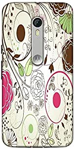 Snoogg Retro Floral Background Designer Protective Back Case Cover For Motorola Moto X Style