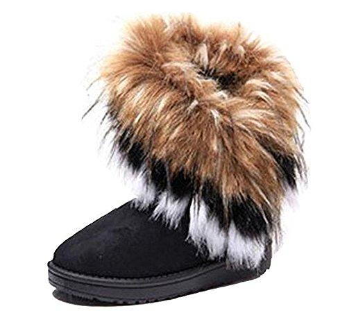 favoridol-femmes-hiver-bottes-de-neige-cheville-chaudes-fourrure-39-noir-avec-fourrure-brune