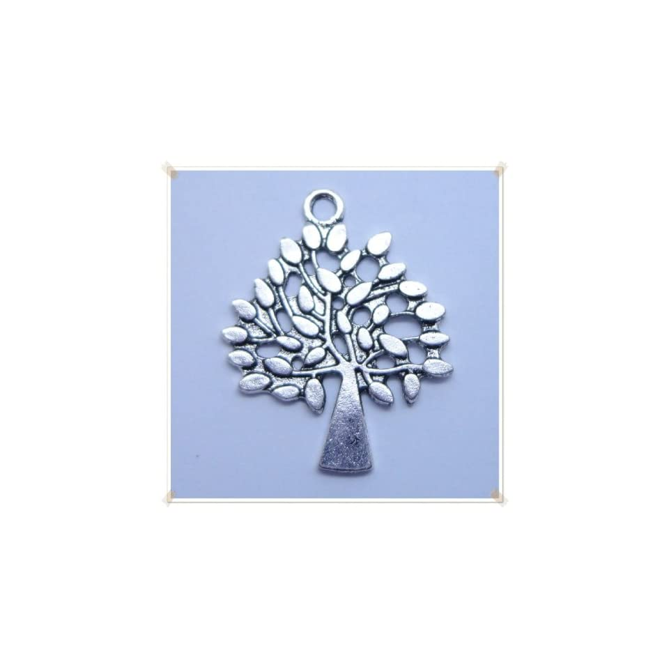 Tibetan silver Tree Shape Charm Pendant Beads Findings 5Pcs (22mm x 30mm)
