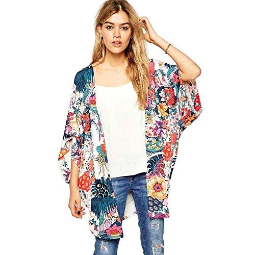 XILALU Women Casual Floral Print Kimono Loose Cardigan Chiffon Tops Blouse (S)