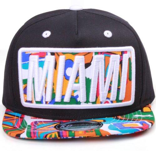 Miami Flat Visor Bill Aztec Print Snapback Hat Cap (One Size, Black White)