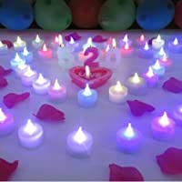 Liroyal 12-Pack Tealight Candle LED White, Color Changing Flame from Liroyal