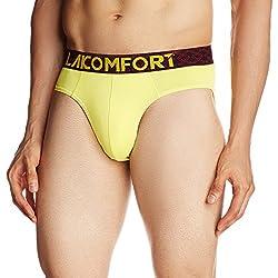 Lakomfort Men's Cotton Brief (Hugo_X-Large _Lemon Yellow)