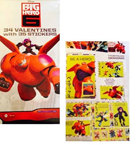 Big Hero Six Valentines with Stickers ~ 34 count