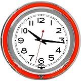 "Trademark Gameroom Red Chrome Double Ring Neon Clock, 14"""