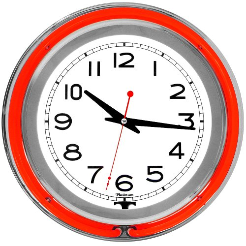 Trademark 14-Inch Double Red Outer and White Inner Ring Neon Clock