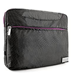 VanGoddyTM VanGoddy NineO Messenger Bag Case for Insignia Flex NS-14T004 & NS-15AT10 10.1-inch Tablets (Gray & Purple) + Bluetooth Keyboard + VG Headphones