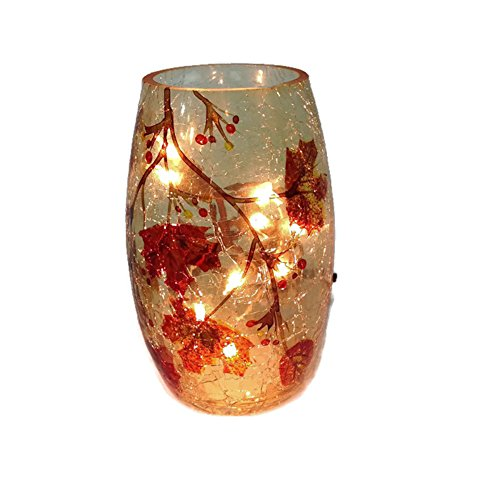 Stony Creek Medium Crackle Glass Lighted Vase Fall Leaves Shopswell