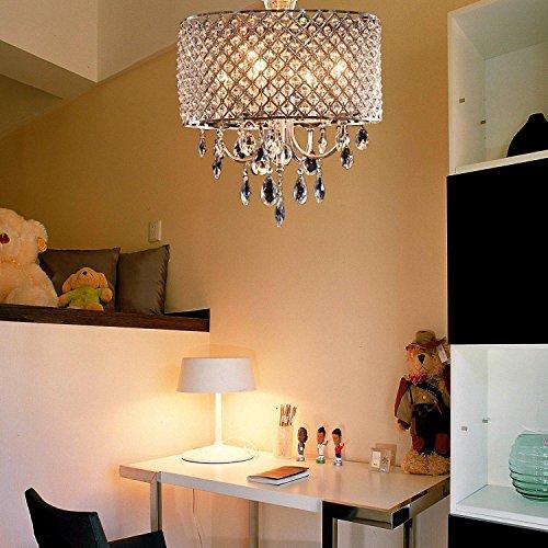 Moderno ed elegante 4 - Luci Pendant Light, lampadario lgiht con gocce di cristallo in tondo piuma soggiorno, sala da pranzo, camera da letto