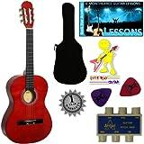 'Stretton Payne' Guitare Acoustique Classique 3/4 Pack - Rouge - Avec Housse et Accordeurs et Mediator