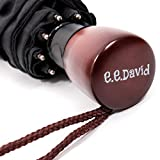 Compact Travel Umbrella By E. E. David - Sturdy Construction, Waterproof Canopy - Portable, Lightweight & Easy To Carry - Ergonomic Handle, Automatic Open Button, One-Handed Open Operation - Black