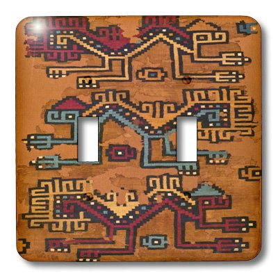 Lsp_181087_2 Florene - Vintage Textiles - Image Of Peruvian Fabric Pattern From Year 500 - Light Switch Covers - Double Toggle Switch