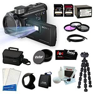 Sony HDR-PJ790V High Definition Handycam Camcorder Bundle with Sony 32GB and 64GB Memory Cards + Sony Soft Carrying Case +Vivitar 52mm Wide Angle Lens + 3pc Filter Kit + Wasabi Power Replacement Battery for NP-FV100 and Accessory Kit