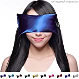 Lavender Eye Pillow - Yoga Eye Pillow for Stress & Migraine Relief w/Free Sleep Mask. Made in USA. Hot or Cold Eye Pillows for Stress Relief, Headaches & Relaxing. By Happy Wraps. (Sapphire)